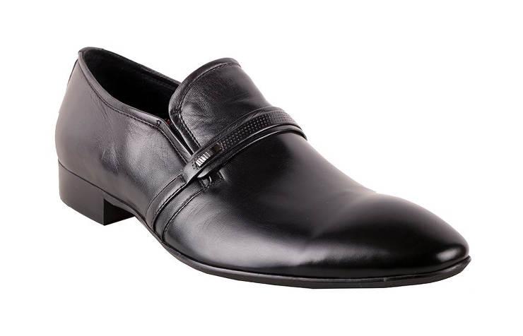 Туфли кожаные мужские черные классические без шнуровки