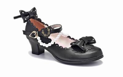 Черные школьные туфли для девочек на каблуке