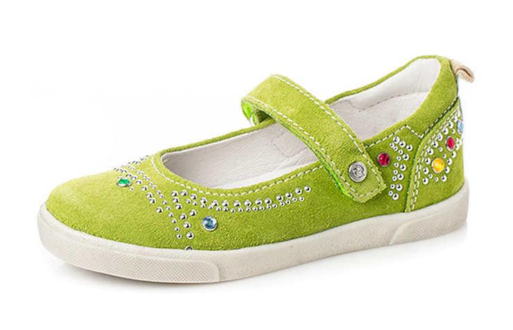 Зеленые замшевые туфли для девочек