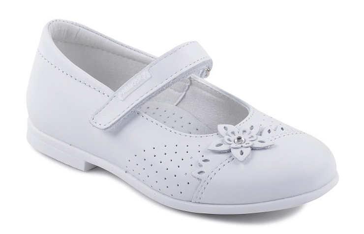 Белые туфли для девочек на липучках