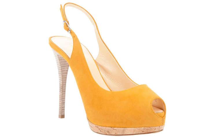 Желтые замшевые туфли