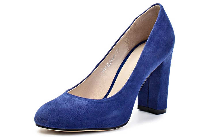 Синие женские туфли на среднем каблуке