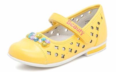 Желтые туфли со стразами для девочки