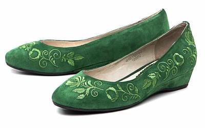 Зеленые туфли без каблука