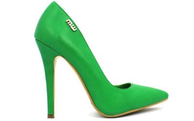 Зеленые женские туфли на высоком каблуке