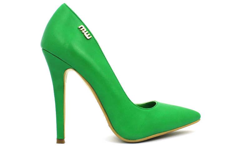 Ярко-зеленые женские туфли на высоком каблуке
