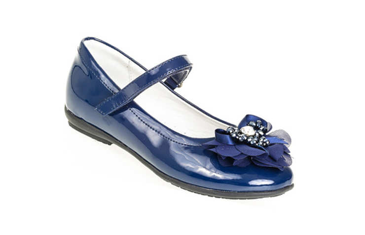 Синие лакированные туфли для девочек
