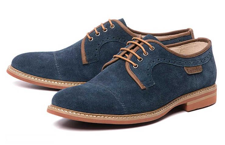 Синие мужские туфли на шнурках
