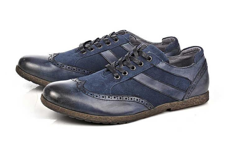 Синие туфли на шнурках