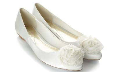 Свадебные туфли-балетки молочного цвета
