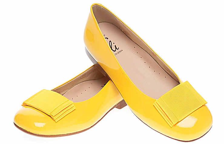 Праздничные желтые туфли для девочек