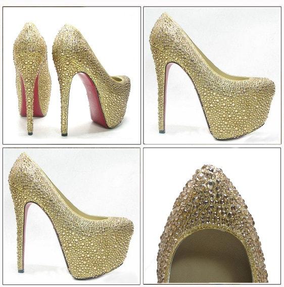 вечерние золотые туфли