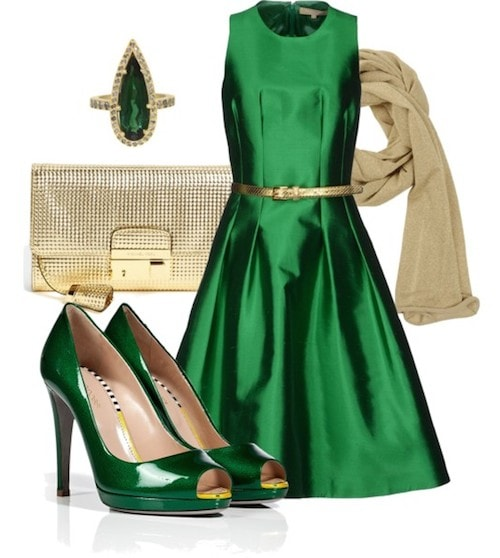 Вечерний наряд -зеленый образ