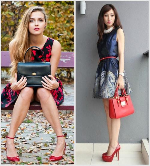 Красные туфли с летним платьем