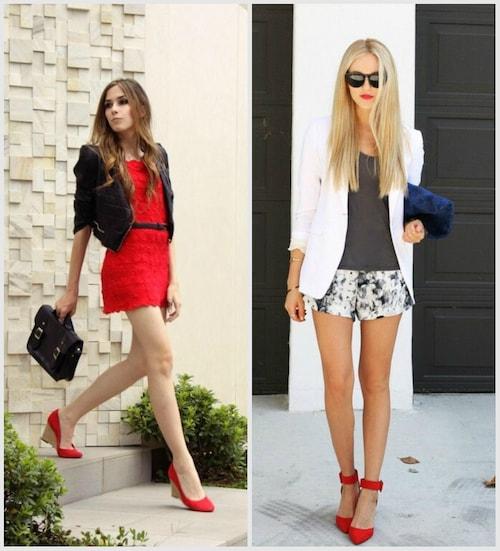 Красные туфли с красным платьем и черными: сумкой, поясом и жакетом