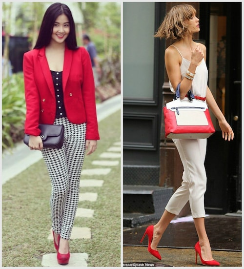 Черно-бело-красный с туфлями на каблуке