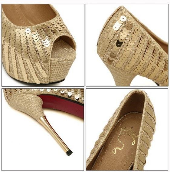 золотые туфли на каблуке 14 см с пайетками