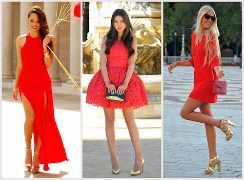 Красное платье с золотыми туфлями