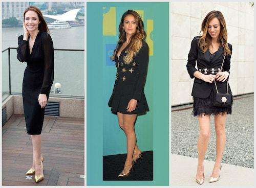 Черное платье с золотыми туфлями