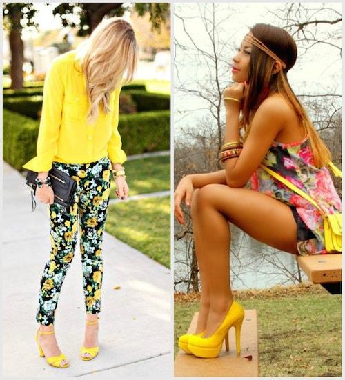 Цветастая одежда сочетается с однотонными желтыми туфлями