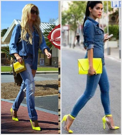 Джинсы с лимонно-желтыми туфлями и желтой сумкой