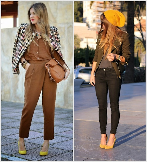 коричневый наряд и желтые туфли лодочки