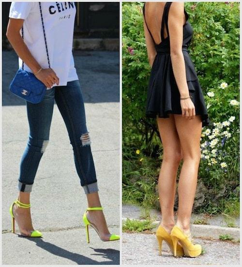 носить желтые туфли с джинсами и синей сумкой