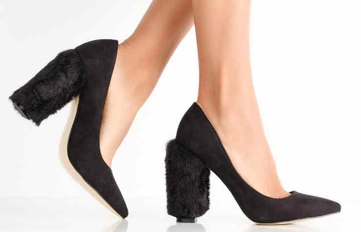 Шикарные туфли на меховом каблуке