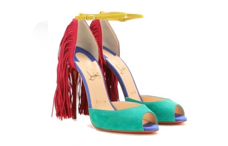 Яркие замшевые туфли с бахромой на каблуке Christian Louboutin