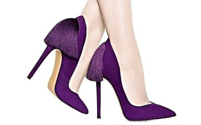 Вечерние брендовые фиолетовые туфли  с бахромой IZO от Aleksander Siradekian