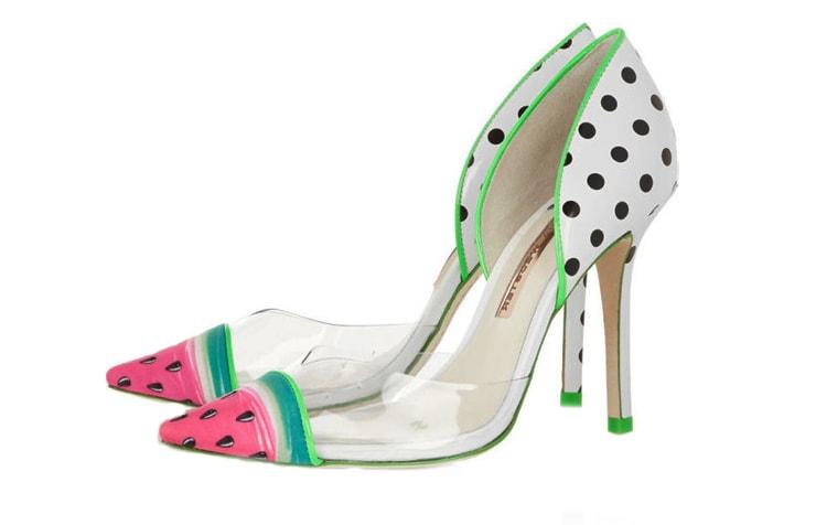 Туфли в горошек на шпильке с прозрачными вставками