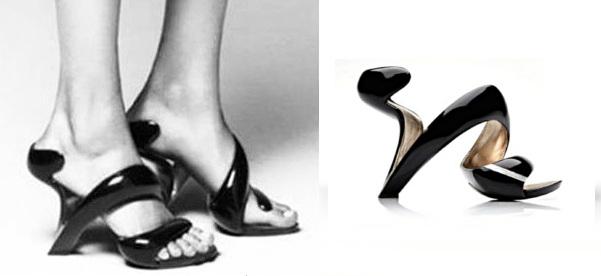 Оригинальные туфли в виде спирали на ноге