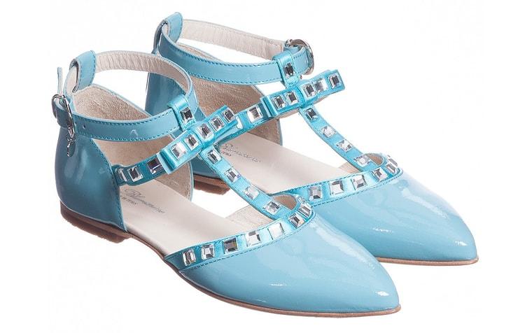 Голубые туфли для девочки с ремешком Miss Blumarine