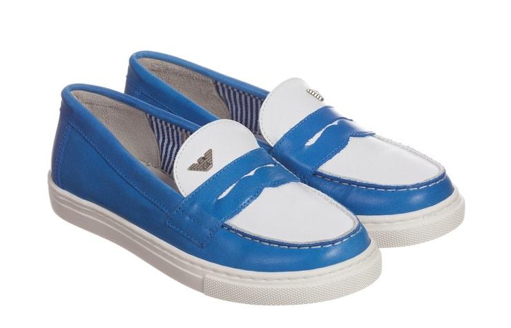 Синие кожаные лоферы для мальчика от Armani