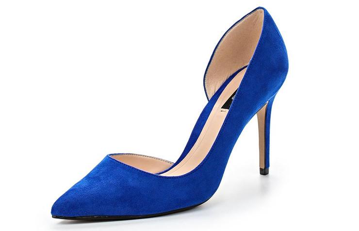 Синие летние туфли на каблуке