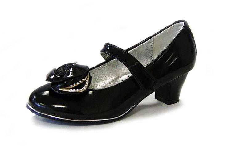 Лаковые туфли на каблуках для девочек