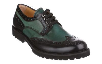 Черно-зеленые мужские туфли