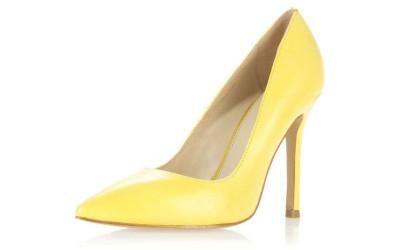 Желтые кожаные туфли на высоком каблуке