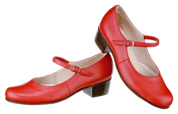 Туфли для народных танцев красного цвета