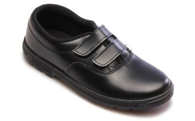 Школьные черные ботинки на двойной липучке
