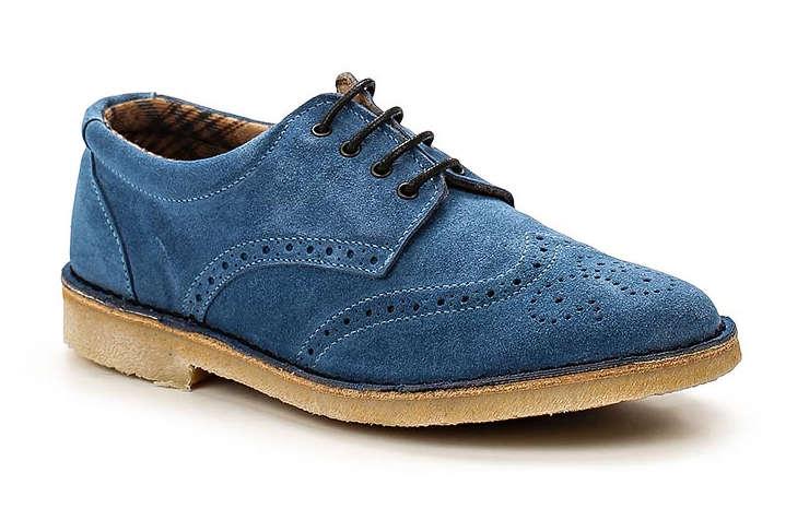 Синие туфли из велюра